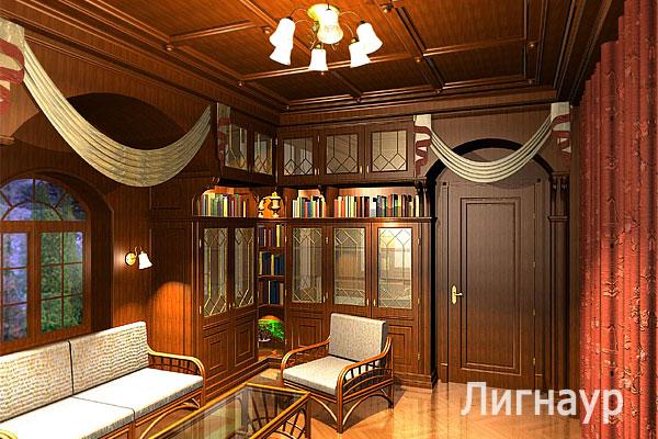 Дизайн интерьера библиотеки в английском стиле.
