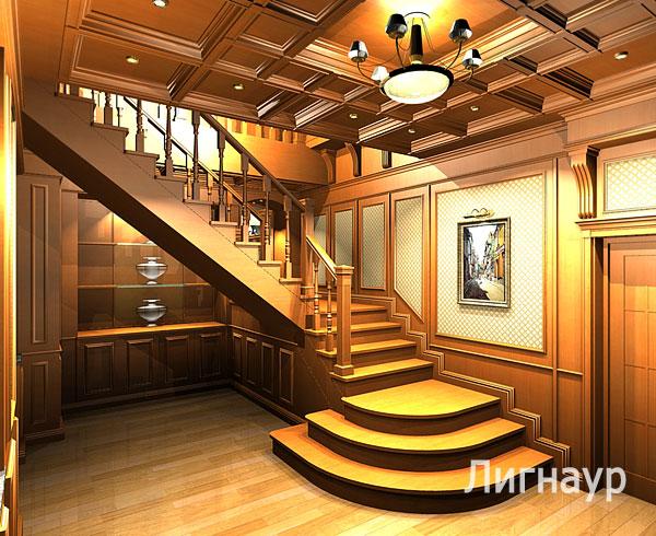 Дизайн интерьера холла отделанного